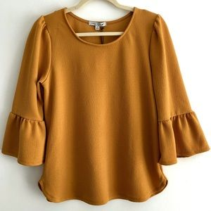 NWT Green Envelope Mustard Bell Sleeve Knit Blouse
